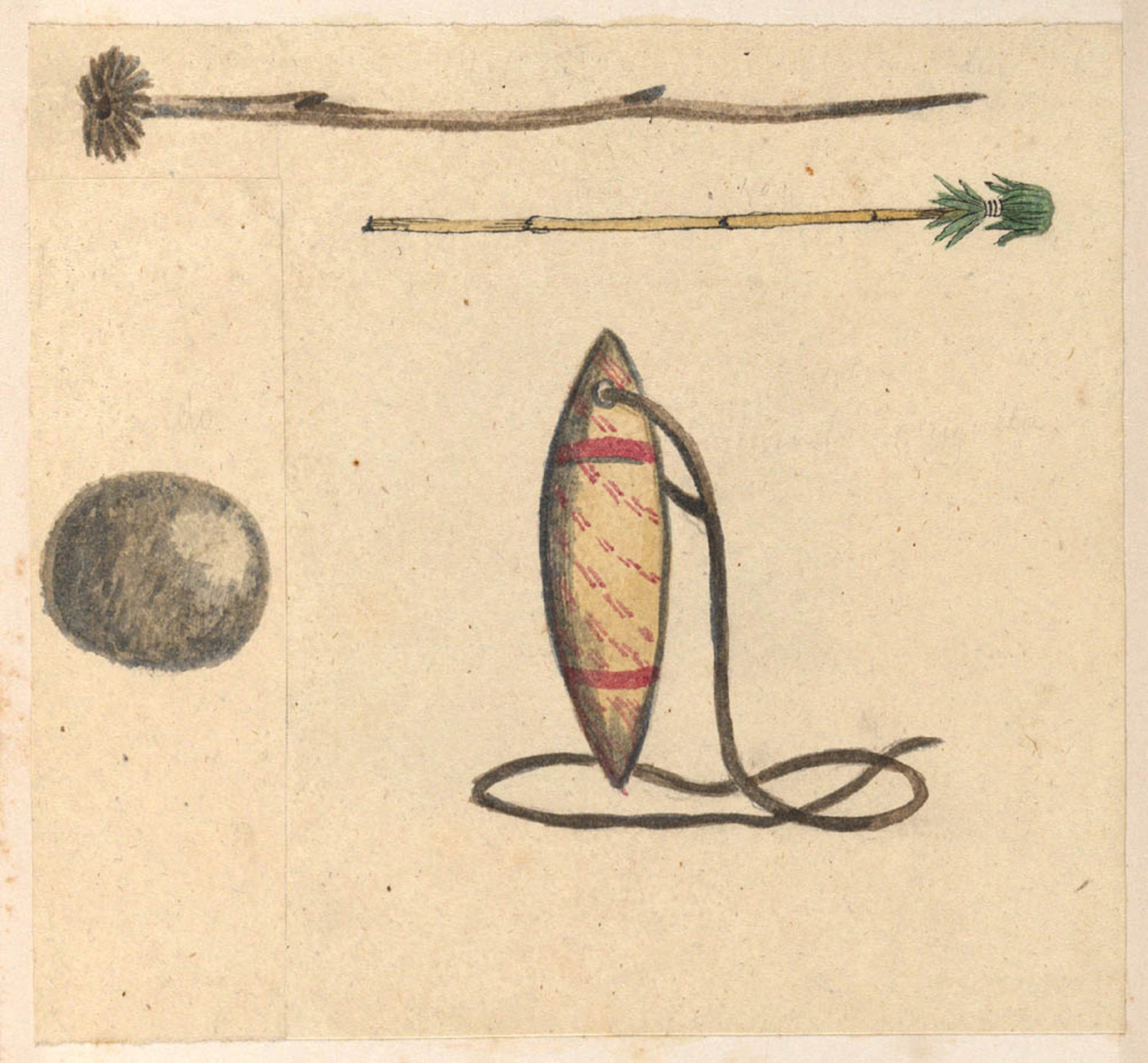 Pando (ball) and Kandomarugutta (sling) from the AW Cawthorne papers held in the Mitchell Library dating from the 1840s.