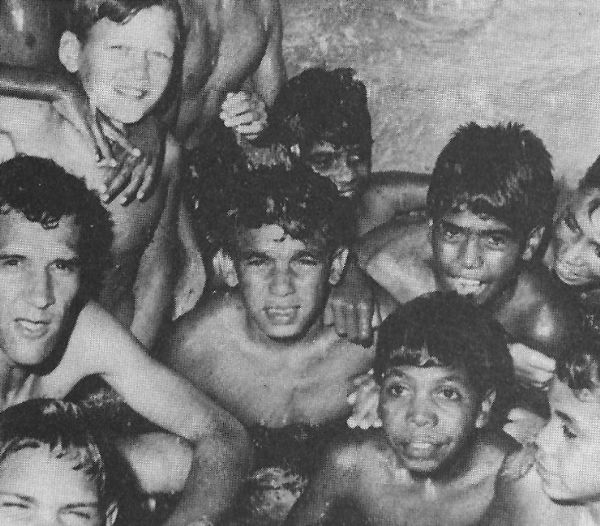 Charles Perkins with the children in the Moree pool