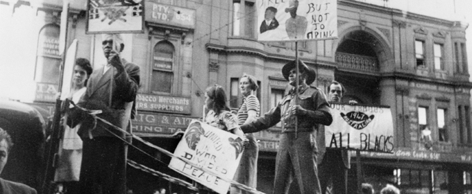 The Australian Aboriginal League float in the 1947 May Day procession
