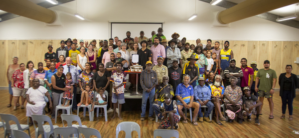Gangalidda Garawa people and members of the RoCH team celebrating the return of cultural heritage material.