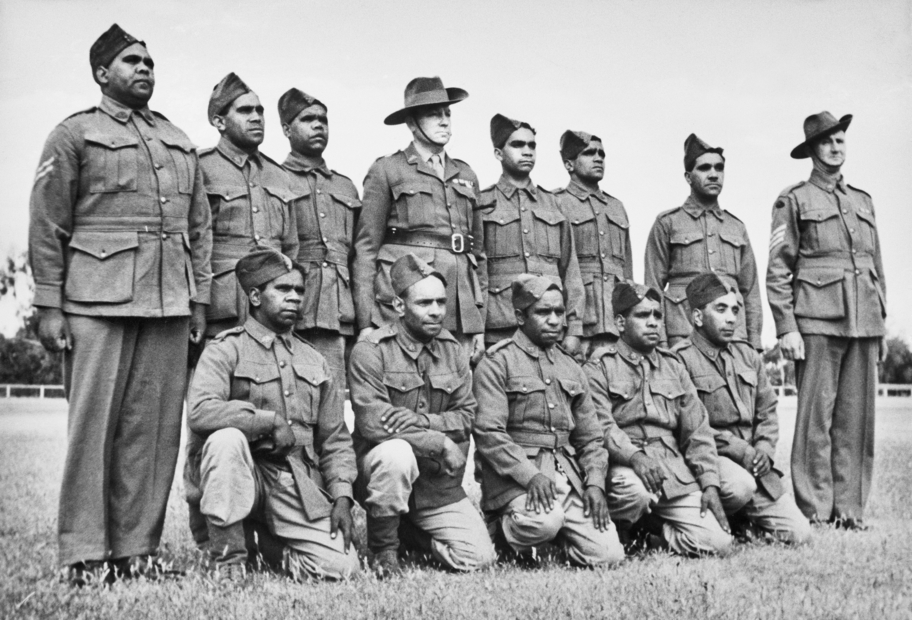 Group portrait of a platoon of Aboriginal soldiers