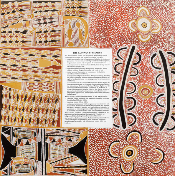 The Barunga Statement which shows iconography from northern and central Australia with English language text.